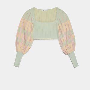 Zara pleated knit top